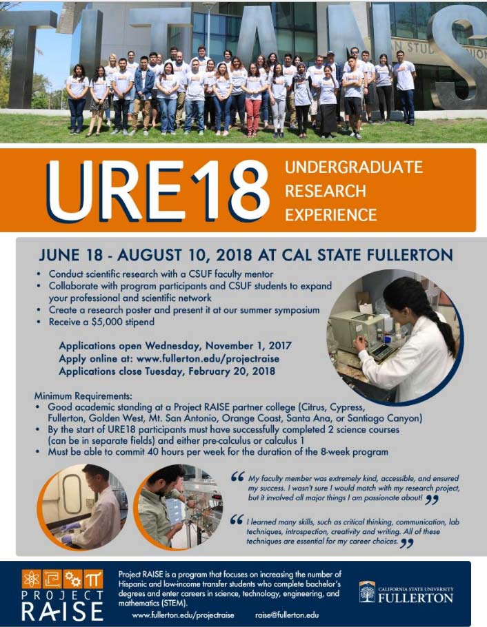 2018 - Undergraduate Research Experience at Cal State Fullerton